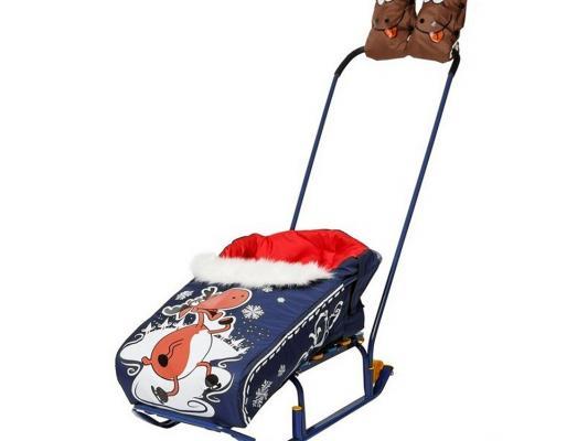 Комплект для санок RT Новогодний олень матрасик и варежки синий матрасик для санок меховой для snow baby dream стандарт далматинец