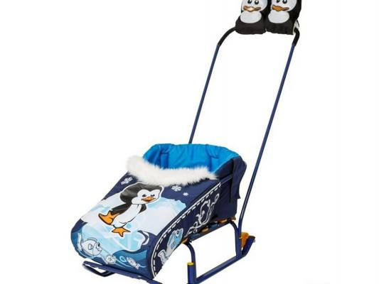 Комплект для санок RT Пингвиненок: матрасик и варежки синий