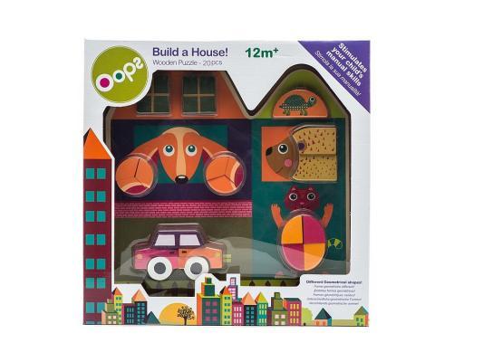 Пазл Oops Построй дом 20 элементов O 16006.20 деревянный пазл oops собака 9 элементов
