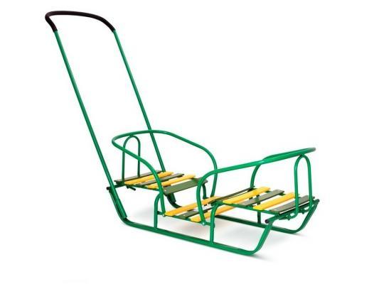 Купить Санки RT Лучшие друзья для двойни до 35 кг зеленый дерево металл 2615, R-Toys, Металлические санки
