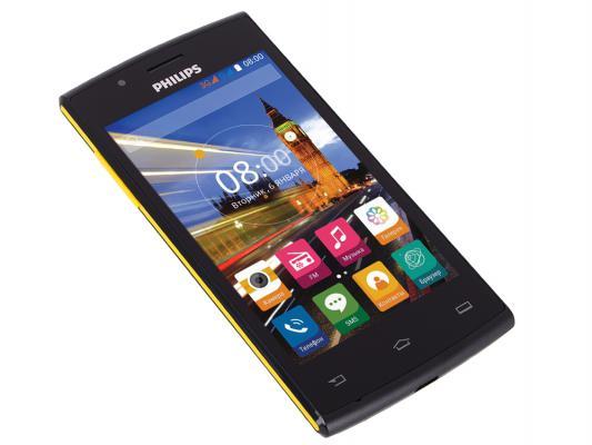 "Смартфон Philips S307 черный жёлтый 4"" 4 Гб GPS Wi-Fi"