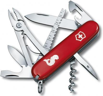 """Нож перочинный Victorinox Angler 1.3653.72 91мм 18 функций красный с логотипом """"рыба"""""""
