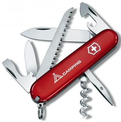 """Нож перочинный Victorinox Camper 1.3613.71 91мм 13 функций красный с логотипом """"camping"""""""