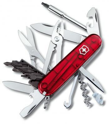 все цены на  Нож перочинный Victorinox CyberTool 34 1.7725.T 91мм 34 функции полупрозрачный красный  онлайн