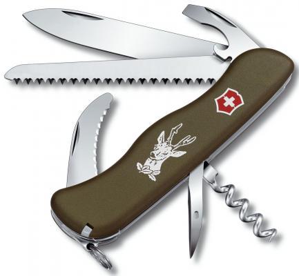 Нож перочинный Victorinox Hunter 0.8873.4 с фиксатором лезвия 13 функций зеленый