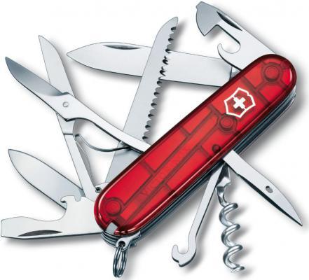 Нож перочинный Victorinox Huntsman 1.3713.T 91мм 15 функций полупрозрачный красный
