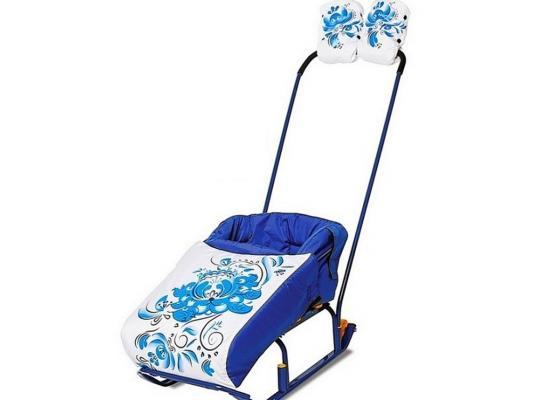 Комплект для санок RT Гжель матрасик и варежки синий 4986 матрасик для санок меховой для snow baby dream стандарт далматинец