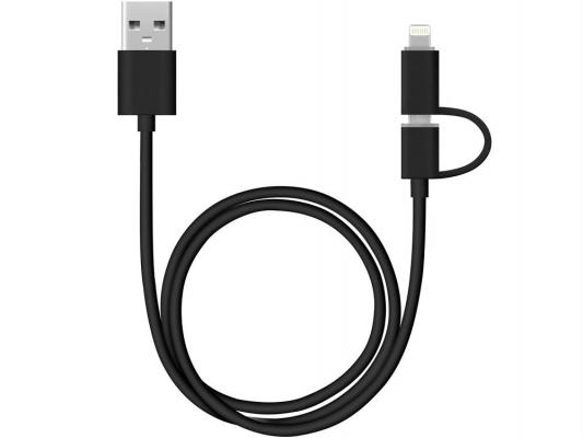 Кабель Deppa 2 в 1 для Apple USB-8-pin\\micro USB 1.2м черный 72204 usb кабель 3 в 1 remax lesu 3 in 1 cable rc 066th apple 8 pin micro usb usb type c черный