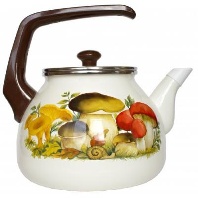 все цены на Чайник INTEROS 15251 Грибы 2 л металл белый рисунок онлайн