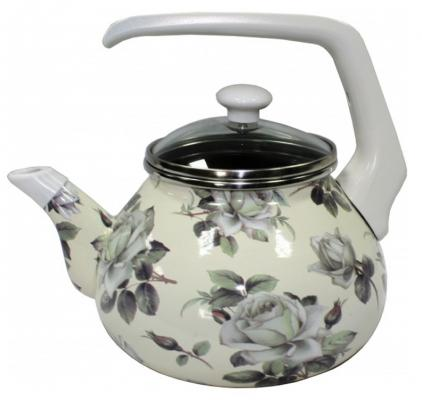 все цены на Чайник INTEROS 2362 Белая роза 2.2 л металл рисунок онлайн