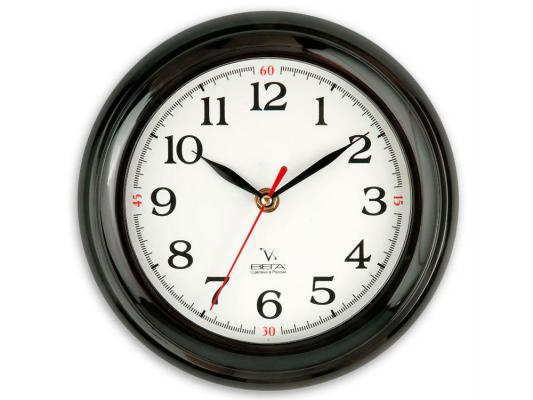 Часы настенные Вега П 6-6-18 чёрный белый часы настенные вега п 1 6 6 6 чёрный