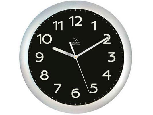 Часы настенные Вега П 1-серебро/6-212 серебристый чёрный