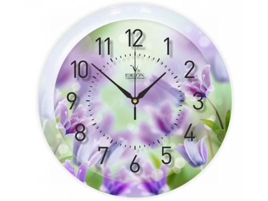 Часы настенные Вега П 1-248/7-248 Фиолетовые цветы
