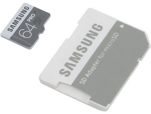 Карта памяти Micro SDXC 64Gb Class 10 Samsung MB-MG64EA + SD adapter