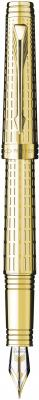 Перьевая ручка Parker Premier DeLuxe F562 Chiselling GT F позолота 23K S0887930 цена