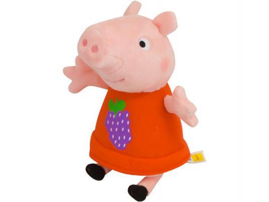 Мягкая игрушка свинка Peppa Pig Пеппа с виноградом текстиль розовый 20 см 29621
