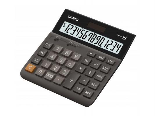 Калькулятор Casio DH-14-BK-S-EH 14-разрядный коричневый/черный
