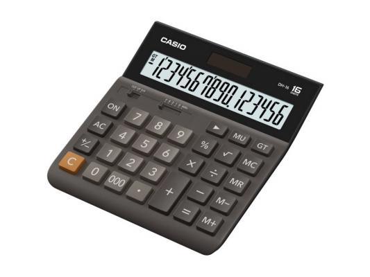Калькулятор Casio DH-16-BK-S-EH 16-разрядный коричневый/черный