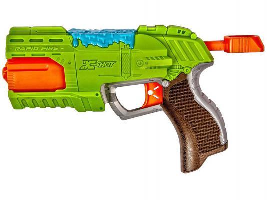 Бластер X-shot Атака Пауков (8патронов + 2 паука-мишени) зеленый для мальчика 4801
