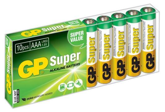 Батарейки GP Super Alkaline AAA 10 шт 24A-B10 aaa батарейка gp super alkaline 24a lr03 8 шт