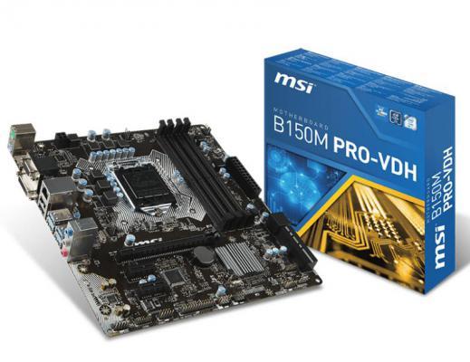 Мат. плата для ПК MSI B150M PRO-VDH Socket 1151 B150 4xDDR4 1xPCI-E 16x 2xPCI-E 1x 6xSATAIII mATX Retail