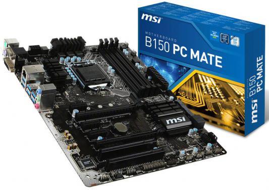 Материнская плата для ПК MSI B150 PC MATE Socket 1151 B150 4xDDR4 2xPCI-E 16x 2xPCI 3xPCI-E 1x 6xSATAIII ATX Retail