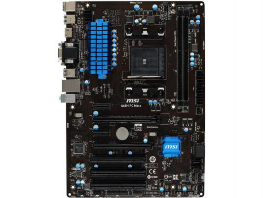 Материнская плата для ПК MSI A68H PC MATE Socket FM2+ AMD A68H 2xDDR3 2xPCI-E 16x 3xPCI 2xPCI-E 1x 4xSATAIII mATX Retail
