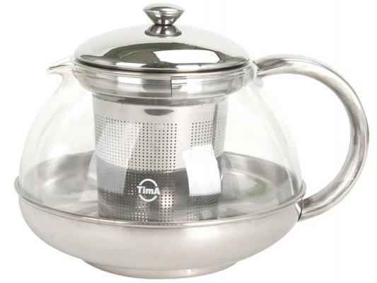 Чайник заварочный Tima Лотос TL-100 серебристый 1 л металл/стекло