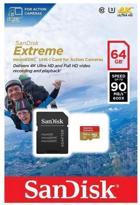 Карта памяти Micro SDXC 64Gb Class 10 Sandisk SDSQXNE-064G-GN6AA + адаптер