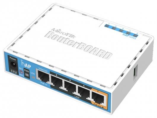 Беcпроводной маршрутизатор MikroTik hAP 802.11n 300Mbps 2.4ГГц 4xLAN RB951Ui-2nD