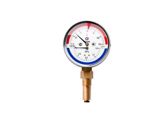 """Термоманометр ТМТБ-31Р Dy 80 с нижним подключением 1/2"""", 6 бар 0-120*"""