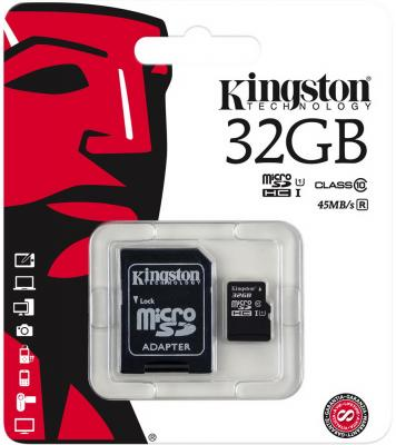 Карта памяти Micro SDHC 32GB Class 10 Kingston SDC10G2/32GB + адаптер