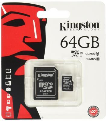 Карта памяти Micro SDXC 64GB Class 10 Kingston SDC10G2/64GB + адаптер sdxc kingston 64gb class10 g2 video sd10vg2 64gb
