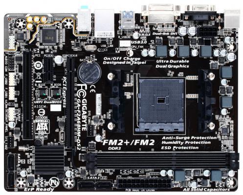 Материнская плата GigaByte GA-F2A68HM-DS2 V1.1 Socket FM2+ AMD A68H 2xDDR3 1xPCI-E 16x 1xPCI 1xPCI-E 1x 4 mATX Retail мат плата для пк gigabyte ga h81m s2pvv3 0 socket 1150 h81 2xddr3 1xpci e 16x 2xpci 1xpci e 1x 2xsata ii 2xsataiii matx retail