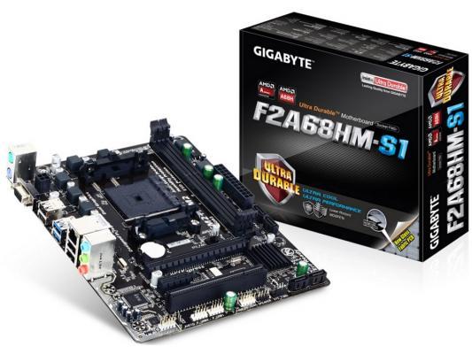 Мат. плата для ПК GigaByte GA-F2A68HM-S1 V1.1 Socket FM2+ AMD A68H 2xDDR3 1xPCI-E 16x 1xPCI 1xPCI-E 1x 4xSATAIII mATX Retail