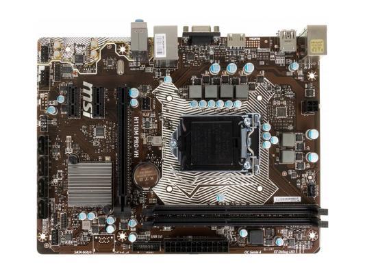 Материнская плата MSI H110MPRO-VH Socket 1151 H110 2xDDR4 1xPCI-E 16x 2xPCI-E 1x 4 mATX Retail мат плата для пк gigabyte b360m h socket 1151 v2 b360 2xddr4 1xpci e 16x 1xpci e 1x 4xsataiii matx retail