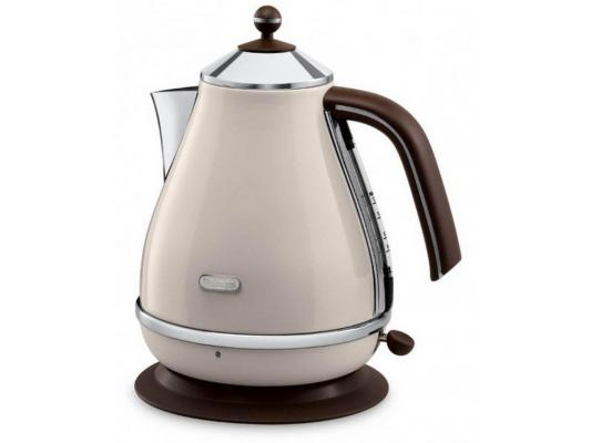 Чайник DeLonghi KBOV 2001 BG 2000 Вт бежевый 1.7 л металл кофемашина delonghi ecam 45 760 w белый