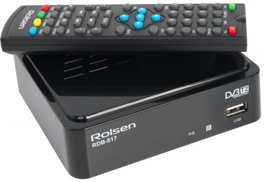 Тюнер цифровой DVB-T2 Rolsen RDB-517B черный