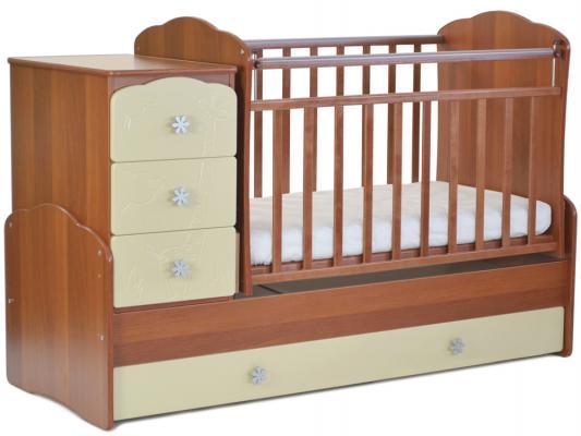 Кроватка-трансформер СКВ-9 (орех/бежевый фасад жираф/940037-9)