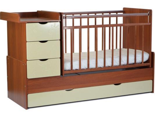 Кроватка-трансформер СКВ-5 4 ящика (орех-ясень крем фасад жираф/540037-410)