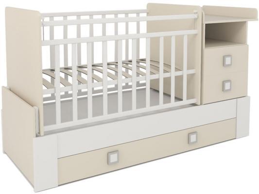 Кроватка-трансформер СКВ-8 (бежевый-белый/830039-1)