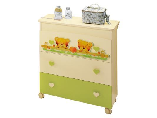Комод пеленальный с ванночкой Baby Expert Cuore (крем/зеленый)
