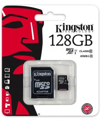 Карта памяти Micro SDXC 128GB Class 10 Kingston SDC10G2/128GB + адаптер карта памяти kingston 128gb sdhc class 10 sd10vg2 128gb sd10vg2 128gb