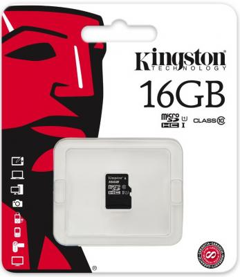 Карта памяти Micro SDHC 16GB Class 10 Kingston SDC10G2/16GBSP цена