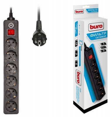 Сетевой фильтр BURO 600SH-5-B черный 6 розеток 5 м сетевой фильтр buro 600sh 5 b