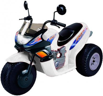 Мотоцикл белый 103 см., трехколесный, Спейс 2*6 В Пламенный мотор CT-770 WH0A