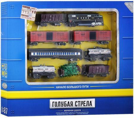 Железная дорога Голубая стрела, 449см,тепловоз,7 вагонов,свет,звук. Элементы питания не входят в комплект. Голубая стрела 87127
