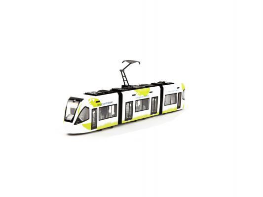 Трамвай Пламенный мотор Городской 1:43, открывающиеся двери белый 1 шт 870172