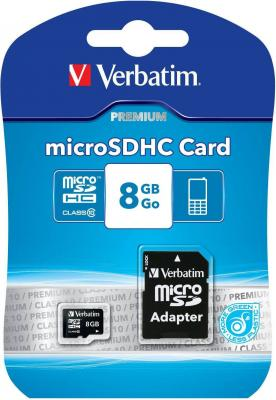 Карта памяти Micro SDHC 8GB Class 10 Verbatim 44081 + адаптер