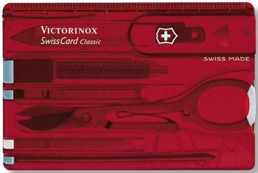Швейцарская карта Victorinox SwissCard Ruby 0.7100.T 10 функций полупрозрачный красный